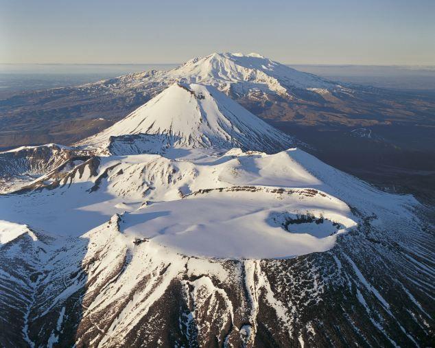 Mount Tongariro, Mount Ngauruhoe and Mount Ruapehu, which is set to erupt, in the Tongariro National Park, New Zealand