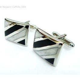 Classic Black & White Stripes Cufflinks - Rectangular cufflinks with black enamel and white mother-of-pearl style stripe inserts.