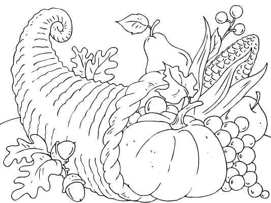 A traditional cornucopia for Thanksgiving. Find more thanksgiving coloring pages at http://www.coloringpages4u.com/thanksgiving_coloringpages