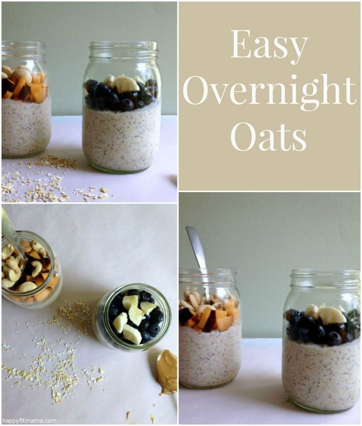 Wake up to breakfast ready!  Try this easy recipe for Overnight Oats that's packed with protein and low in sugar to power through your morning.  happyfitmama.com