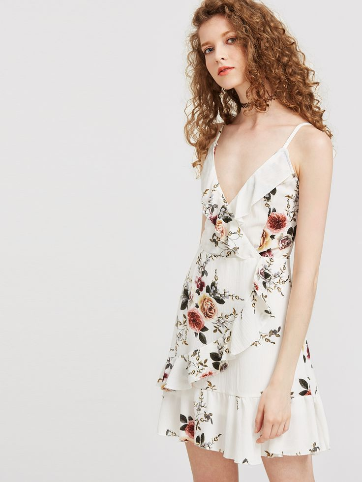 Shop White Floral Ruffle Trim Slip Dress online. SheIn offers White Floral Ruffle Trim Slip Dress & more to fit your fashionable needs.