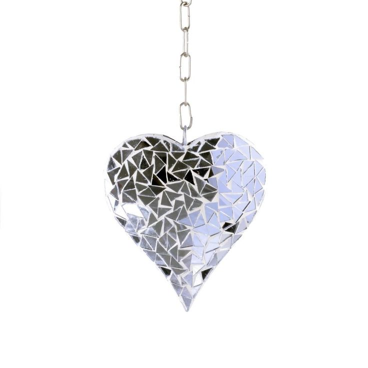 Silver Mosaic Glass Hanging Suncatcher Heart Mobile Garden Home Ornament  #Gardens2you #Contemporary