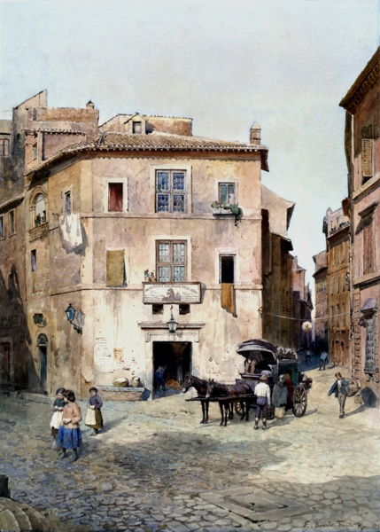 The Antico Albergo and the Locanda dell'Orso, by Ettore Roesler Franz in the Museum of Rome in Trastevere