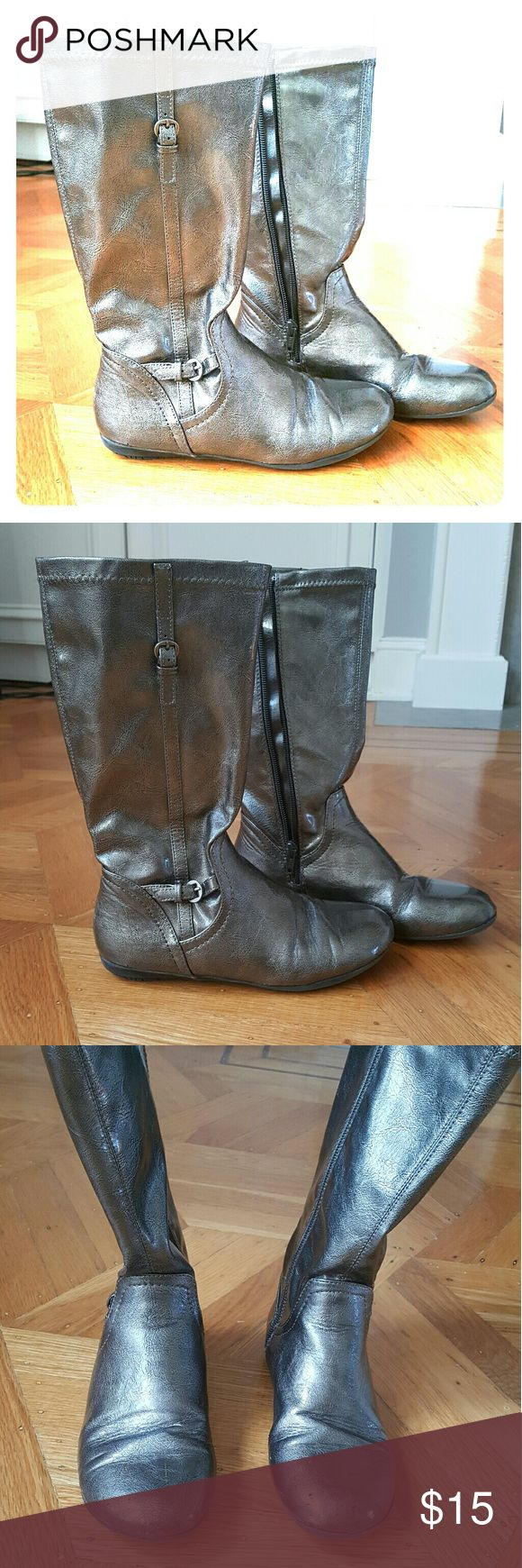 Girls Nordstrom Boots Very cute, pewter knee high boots, some scuffs. Nordstrom Shoes Boots
