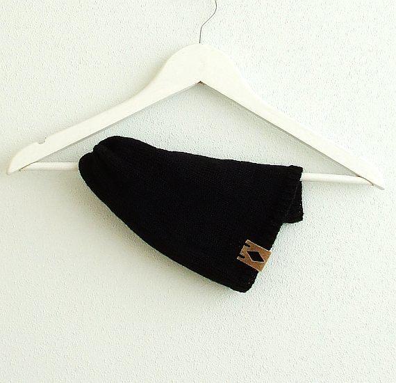 Knit Beanie Hat Black Slouchy Beanie Winter Beanie by AJatelier