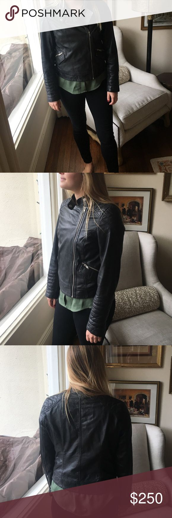 BB Dakota Jameson Leather Moto Jacket A motocross-inspired leather jacket in a form fitting silhouette. Soft quilting accents the sleeves, and exposed zips secure the placket, pockets, and gusseted cuffs. BB Dakota Jackets & Coats