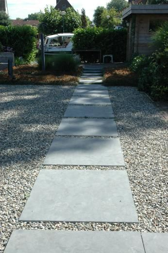 Simple concrete pavers with gravel garden paths that we for Cleaning concrete paths