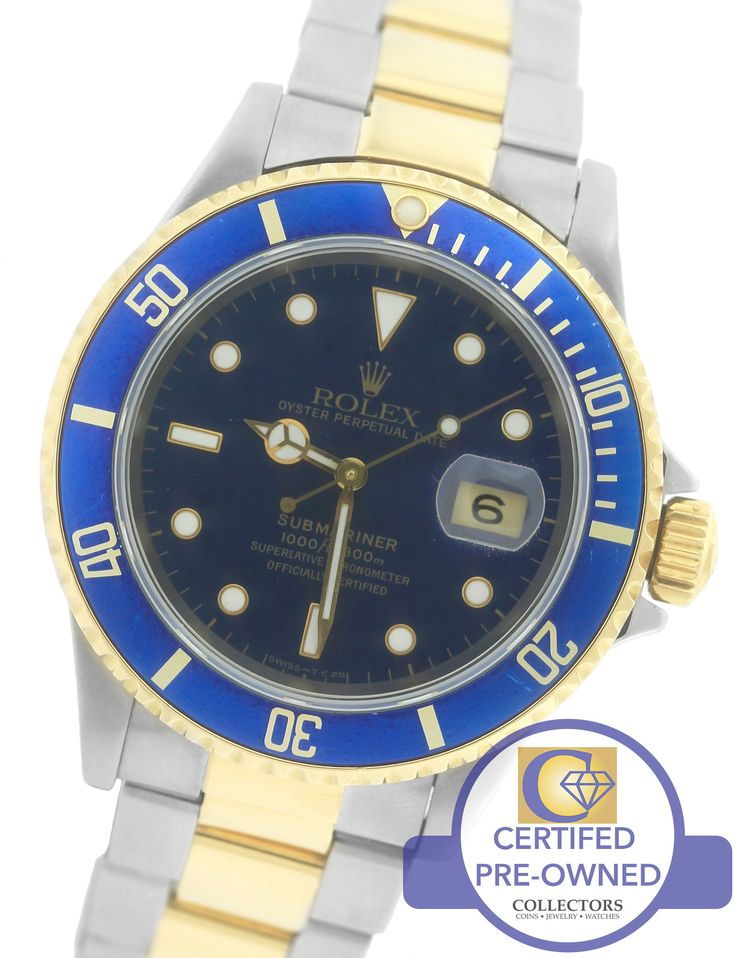 Men's Rolex Submariner 16613 Two-Tone Gold Stainless Blue Date Dive 40mm Watch