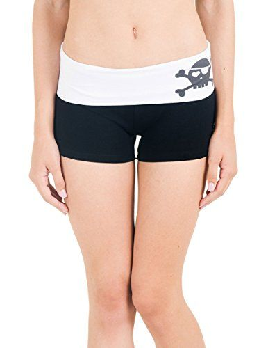 Activewear Apparel Fold Over Roller Derby Juniors Shorts (Medium, White)