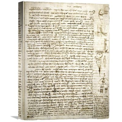Global Gallery 'Codex Leicester: River Theories' by Leonardo Da Vinci Graphic Art on Wrapped Canvas Size: