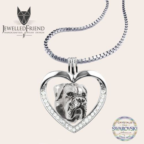 Bullmastiff jewelry necklace pendant with swarovski crystal-Sterling Silver-Personalized Pet Necklace-Dog lover gift-Pet Memorial by jewelledfriend. Explore more products on http://jewelledfriend.etsy.com