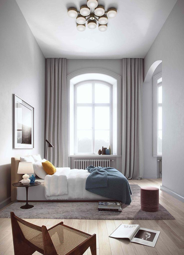 Maffig taklampa och klassikern AJ lamp i en rendering för Oscar Properties – Husligheter