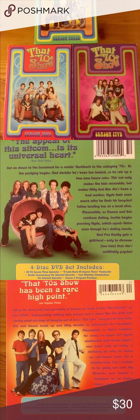 That 70's Show Seasons 3-5 Bundle! Great condition. Hilarious show! Ashton Kutcher and Mila Kunis met filming this show! Other
