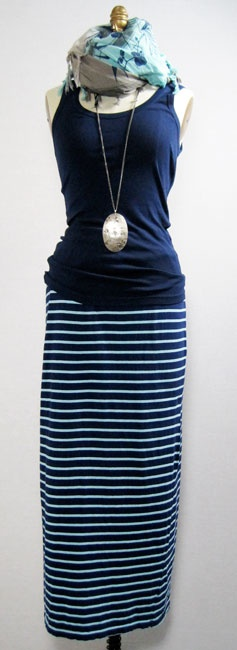 5.29.12 neat in navy - christina lehr top and skirt, leigh & luca scarf, citrine pendant