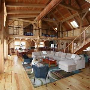 Spectacular Pole Barn Houses For Attractive Home Design With Microfiber Sectional Couch Chaise And Area Rug Also Wood Flooring