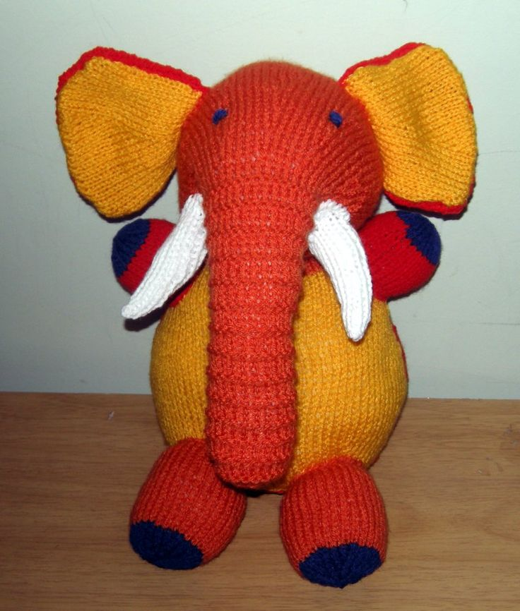 Particolored knitted elephant