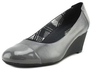 Naturalizer Necile Women Open Toe Leather Gray Wedge Heel.