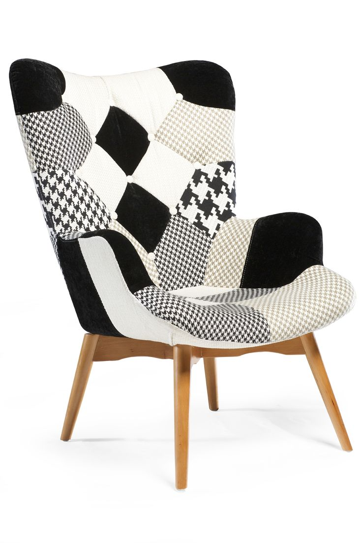 PATCH Lounge Chair in multi color neutral tones and ash legs