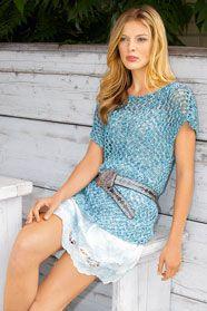dámská letní ručně pletená tunika z příze Veneta Color