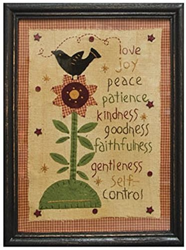 New Primitive Sampler FRUIT OF THE SPIRIT Love Joy Peace Bird Stitchery Picture #Country