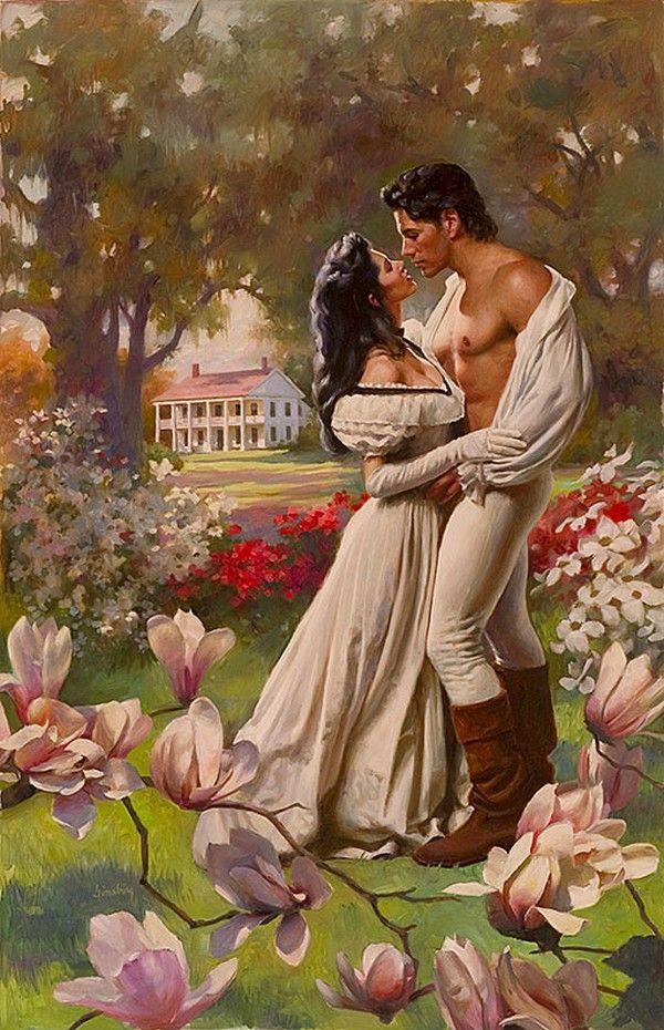 Открытка романтичная дама