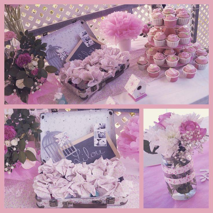 Bapteme fille liberty Lilou cupcake valise dragée fleurs