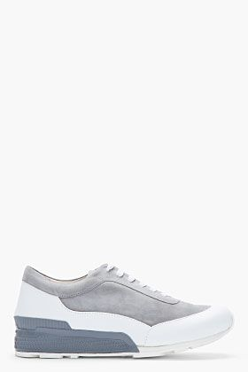 White Nubuck retro Grey xiii jordan SANDER  amp  Sport Leather Sneakers JIL
