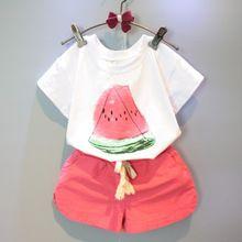 Девушки комплектов одежды 2016 новых летних девочек одежды арбуз печатный рисунок белых майка + красные шорты детская одежда(China (Mainland))