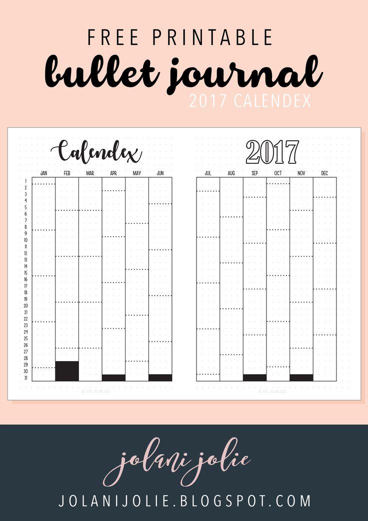 Free Printable: Bullet Journal 2017 Calendex | | Bullet ...