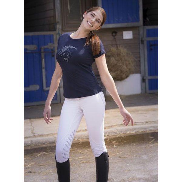 T-Shirt donna equitazione manica corta, modello Tête Art by Equi-Thème in cotone strech, vestibilità ampia e decorazione in strass sul davanti.