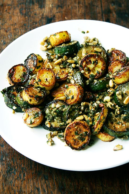 Sautéed zucchini with mint, basil and pine nuts #vegetarian #recipe