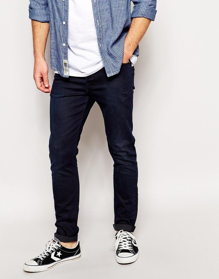 $33, Navy Skinny Jeans: Asos Brand Skinny Jeans In Dark Blue. Sold by Asos. Click for more info: https://lookastic.com/men/shop_items/183074/redirect