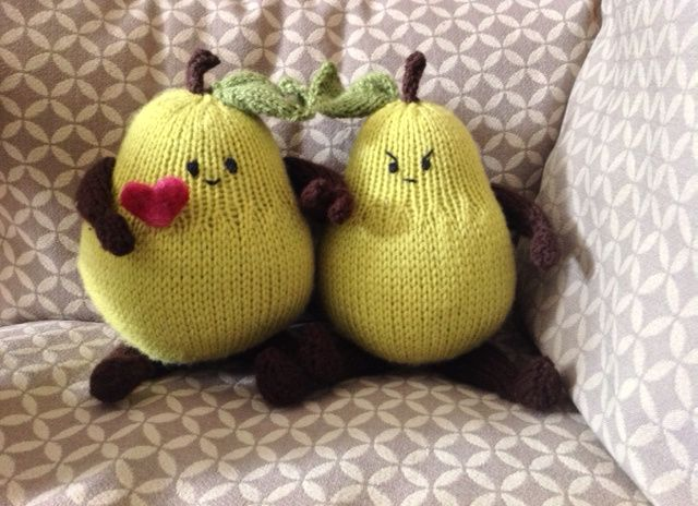 Knit pears with needle felted heart for Valentine's Day