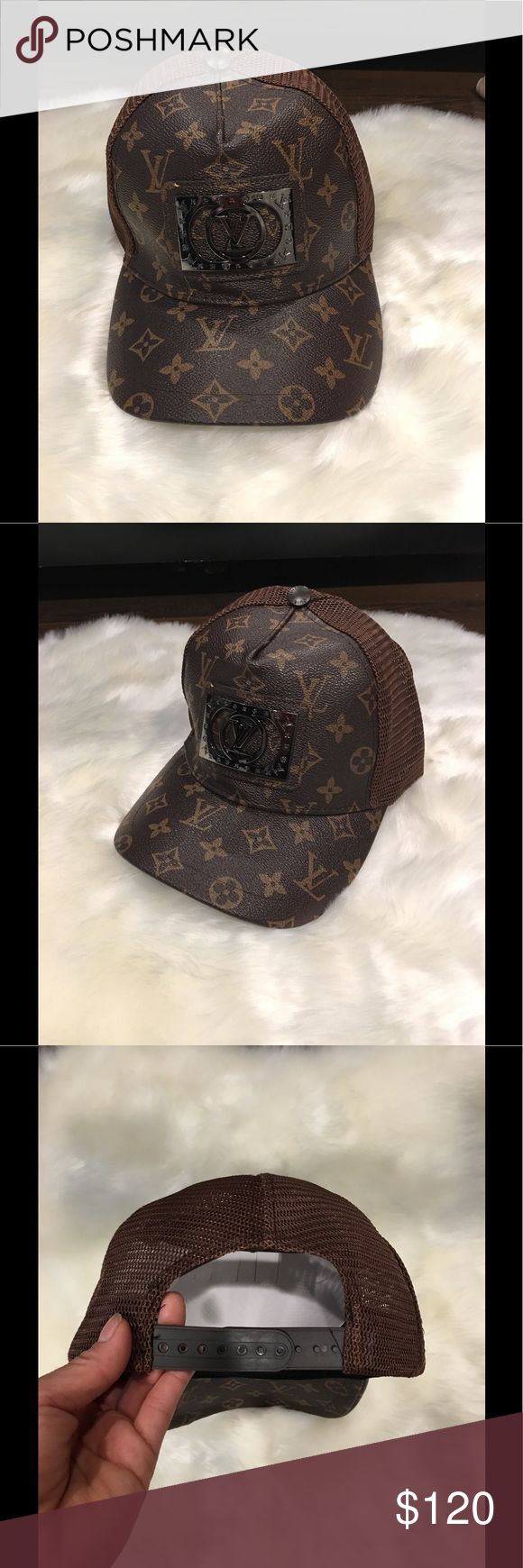 Louis Vouiton brown hat Brown hat. Designer inspired. Not authentic. Brand used just as exposure. Adjustable. Great quality Louis Vuitton Accessories Hats