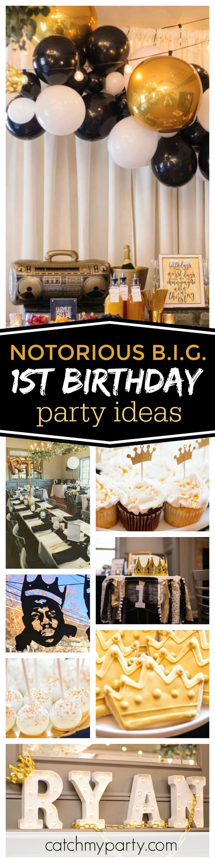Check out this fantastic Notorious B.I.G. 1st birthday party. The balloon decorations are excellent!! See more party ideas and share yours at CatchMyParty.com