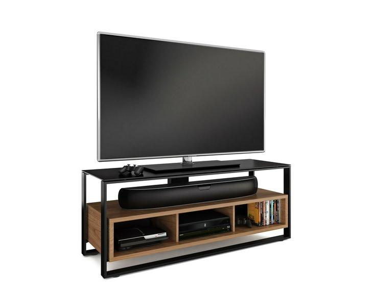BDI Sonda 8656 contemporary TV stand. Combining the best elements of open and closed systems, the SONDA TV stand offers convenient access with an enclosed feel. The open shelf can host a soundbar, centre channel speaker or several components. The lower cabinet appears to float within the black steel frame and includes a removable back panel for easy access to the rear of three component compartments. SONDA is finished with a tempered, black micro-etched glass top