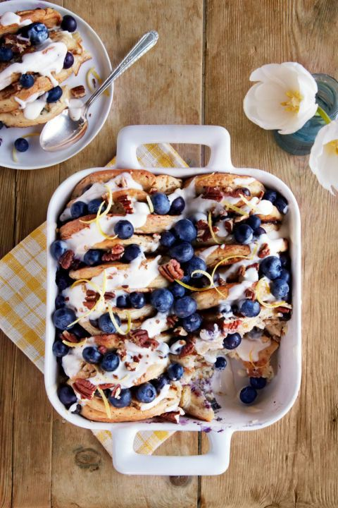 Get the recipe for tasty Blueberry-Pecan Pancake Bread Pudding