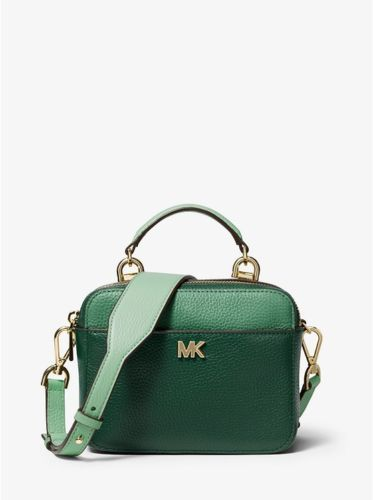 be8d8e8e4416 MICHAEL KORS MK Mott Mini Color-Block Pebbled Leather Crossbody, Green