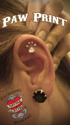 Paw print piercing...super cute! LOVE IT...except for the pain that must come with this type of piercing, even if only for a short time. :)
