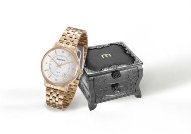 83350LPMKDE1K1 Relógio Feminino Dourado Mondaine Analógico e Porta Jóias Vintage | Guest Club