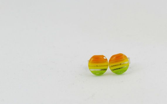 Red Yellow and Green Striped Circle Stud Earrings 8mm by BestFiveCentCoffee