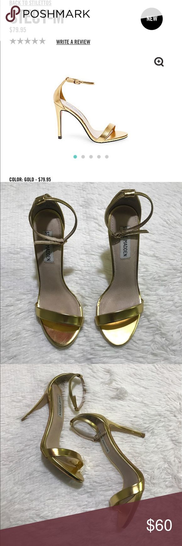 Gold ankle heels Meet STECY-M, your new go-to dress shoe!  Metallic surfaces elevate this super-simple yet perfectly proportioned stiletto sandal, lending both glamorous direction and versatility.  Man-made upper material Leather lining Man-made sole 4 inch heel height Steve Madden Shoes Heels