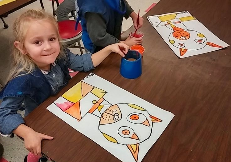 Kindergarten Klee Shape Faces Cat Dog Warm colors Art with Mrs. Seitz