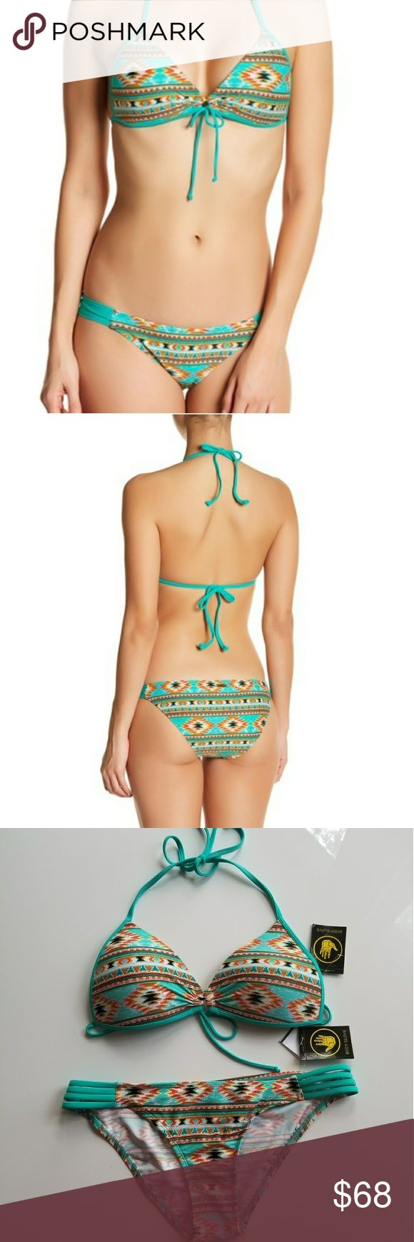 BODY GLOVE SET New Push Up & Bikini Tribal Aztec This is a brand new with tags Body Glove swim suit set. Includes top & bottom. Top is a tie halter triangle bikini top. It also ties in the back so you have optimum adjustability. The top is a light push up - the cups are molded and the top has heart shaped padding inside the cups. Both the top & bottom are size Medium and they fit true to size. The bottoms have the hygienic  liner in tact. Color is turquoise with a tribal/aztec/geometric…