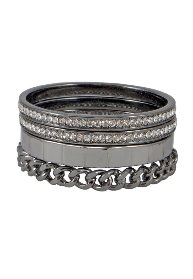 Maggie Bangle Bracelet Set Gunmetal