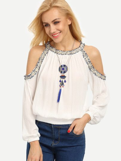 White Cold Shoulder Crew Neck Long Sleeve Blouse