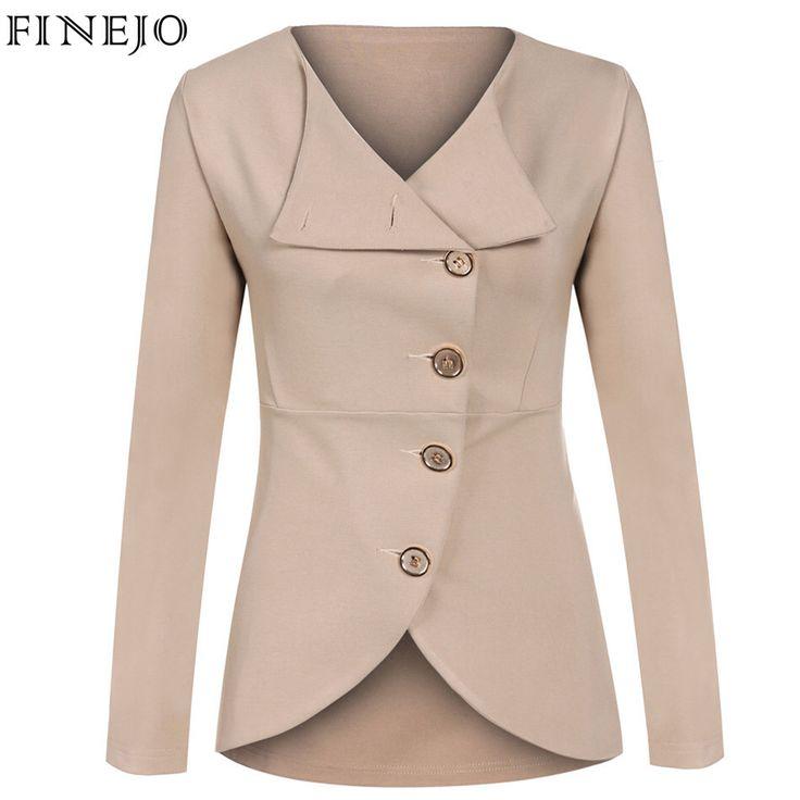 Finejo solid fashion vrouwen bovenkleding jasje single-breasted lange mouwen turn-down kraag lente herfst vrouwen clothing