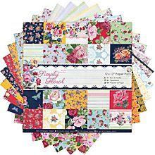 Scrapbookingpapier-Block 'Blumen', 30,5 x 30,5 cm, 32 Blatt