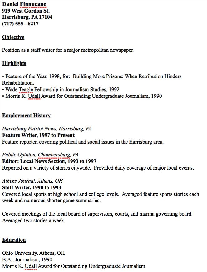 Example Of Journalist Resume -    resumesdesign example-of - ap style resume