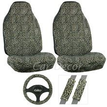 Cheetah Tan Car Seat Cover Set includes two front seat covers, steering wheel cover and seat belt shoulder pads. Available at CarDecor.com.